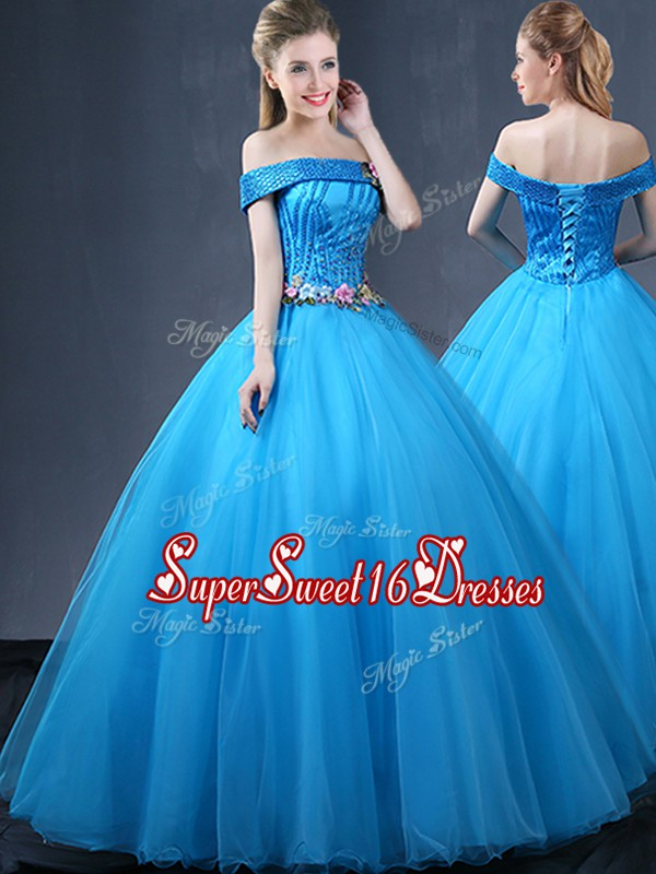 Off the Shoulder Baby Blue Ball Gowns Beading and Appliques Quinceanera Gowns Lace Up Tulle Sleeveless Floor Length