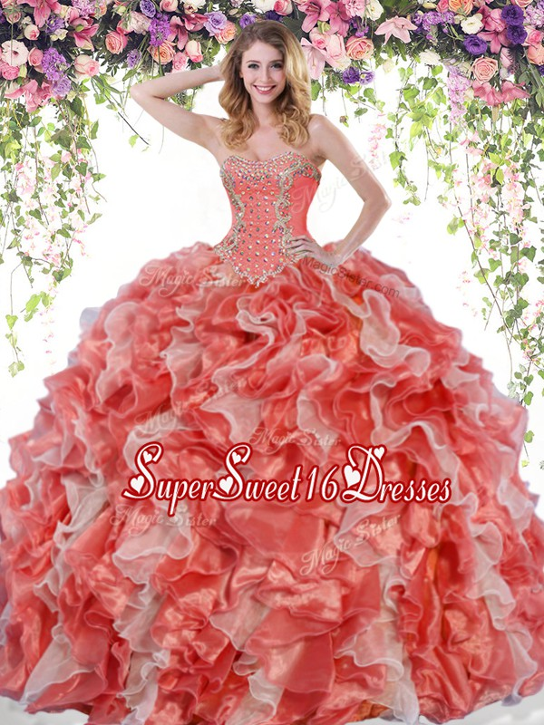 Floor Length White And Red Sweet 16 Quinceanera Dress Organza Sleeveless Beading and Ruffles