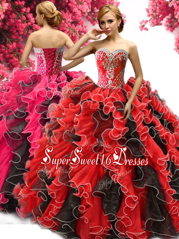 Red And Black Quince Ball Gowns Military Ball and Sweet 16 and Quinceanera and For with Beading and Ruffles Sweetheart Sleeveless Lace Up