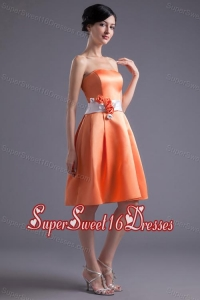 A-line Orange Red Strapless Sash Knee-length Satin Dresses for Dama