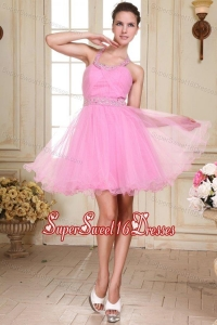 Rose Pink Halter Top Neck Mini-length Beading Dama Dress for Quinceanera with Organza