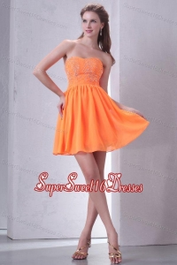 Sweetheart Empire Mini-length Beaded Decorate Dama Dresses in Orange