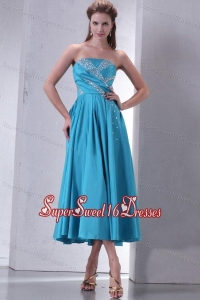 Teal Empire Strapless Tea-length Dama Dress for Quinceanera with Beading