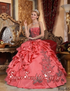 Cheap Coral Red Ball Gown Taffeta Appliques Sweet Sixteen Dresses