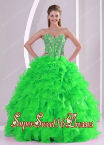 Sweetheart Ball Gown Ruffles and Beading Organza 2013 Sweet 16 Dresses