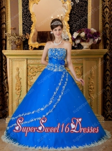 Ball Gown Floor-length Tulle Lace Appliques Cheap Sweet Sixteen Dresses in Blue