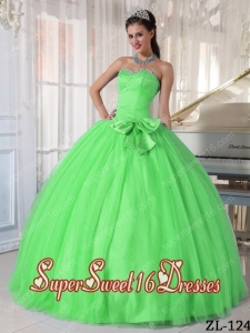 Ball Gown Sweetheart Tulle Beading and Bowknot Custom Made Quinceanera Dress Spring Green