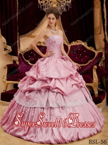 Beautiful Ruffels Layers Strapless Taffeta Appliques Pink 2014 Quinceanera Dress