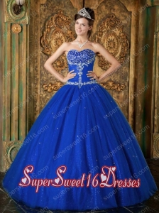 Blue A-Line / Princess Sweetheart Beading Tulle 2014 Quinceanera Dress