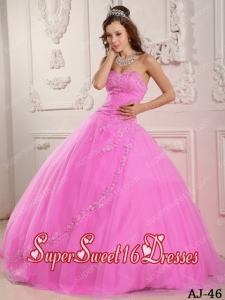 Cheap Classical Sweetheart Tulle Appliques Rose Pink Sweet Sixteen Dresses