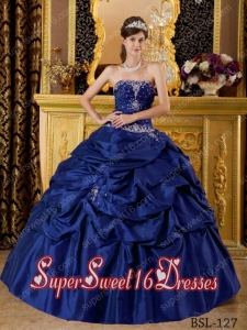 Cheap Ball Gown Strapless Taffeta Appliques Sweet Sixteen Dresses