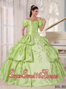 Custom Made Ball Gown Off The Shoulder Taffeta Quinceanera Dress with Embroidery