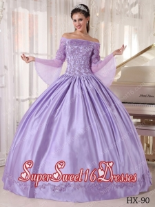 Custom Made Ball Gown Off The Shoulder Taffeta and Organza Appliques Quinceanera Dress in Lavender