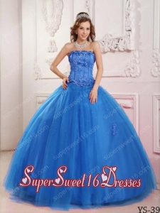 Elegant Tulle Appliques Ball Gown Strapless 2014 Quinceanera Dress in Blue