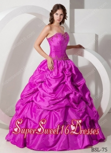 Fuchsia Sweetheart With Long Beading and Pick-ups Cute Sweet Sixteen Dresses