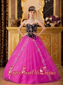 Hot Pink And Black A-line / Princess Sweetheart Tulle Beading 2014 Quinceanera Dress with Hand made Flower and Appliques