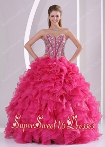 Hot Pink Ball Gown Sweetheart Ruffles and Beading Long Organza Custom Made Sweet 16 Dresses
