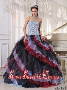 Multi-color Ball Gown Strapless Custom Made Beading Quinceanera Dress with Appliques