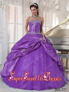Purple Ball Gown Custom Made Strapless Taffeta and Tulle Quinceanera Dress with Appliques