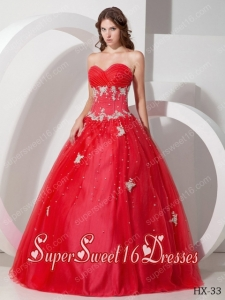 Sweetheart Ball Gowns Appliques Beadings Red Discount Sweet Sixteen Dresses