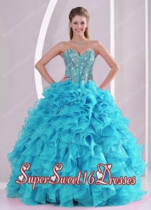 Sweetheart Ruffles and Beaded Decorate Sleeveless Cheap Sweet Sixteen Dresses for 2015