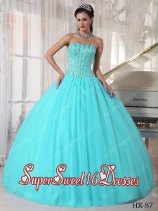 Aqua Blue Ball Gown Sweetheart With Tulle Beading Cute Sweet Sixteen Dresses