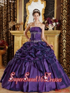Eggplant Purple Ball Gown Strapless Floor-length Pick-ups Taffeta Custom Made Sweet 16 Dresses