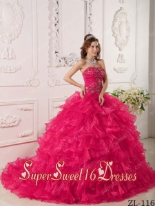 Hot Pink Ball Gown Strapless Floor-length Organza Ruffles And Embroidery Custom Made Sweet 16 Dresses