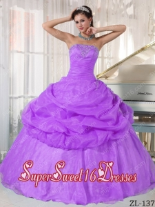 Lavender Ball Gown Strapless With Organza Appliques Cute Sweet Sixteen Dresses