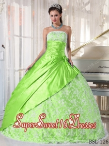 Spring Green Ball Gown Strapless With Taffeta Lace Cute Sweet Sixteen Dresses