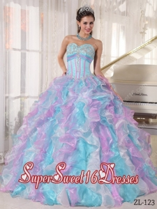 Beautiful Multi-color Sweetheart Organza Appliques 15th Birthday Party Dresses