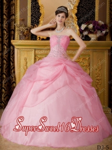 Elegant Rose Pink Ball Gown Strapless With Organza Beading New Style For Sweet 16 Dresses
