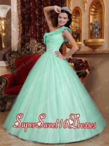 Elegant Tulle Mint A-line One Shoulder Military Ball Dress