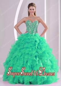 Green Ball Gown Sweetheart Ruffles and Beading Modest Sweet Sixteen Dresses