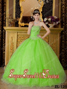 New Style In Spring Green Ball Gown Strapless With Organza Beading Sweet 16 Dresses