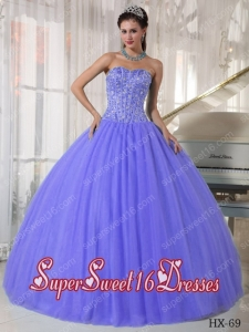 2014 Sweet Sixteen Dress Beading and Rhinestores Tulle and Satin Discount Lilac Ball Gown Discount