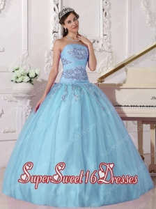 Appliques Baby Blue Strapless A-line Military Ball Dress with Beading