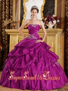 Appliques Ball Gown Strapless Taffeta Modest Sweet Sixteen Dresses in Fuchsia