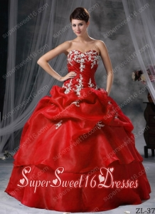 Ball Gown Organza Appliques 15th Birthday Party Dresses in Red