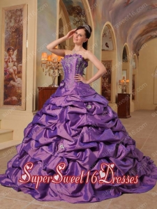 Ball Gown Strapless Court Train Pick-ups Taffeta Modest Sweet Sixteen Dresses in Purple