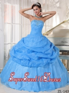 Beautiful Organza Appliques 15th Birthday Party Dresses in Baby Blue