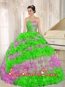 Beautiful Stylish Multi-color 2013 New Style Sweet 16 Dresses Ruffles With Appliques Sweetheart
