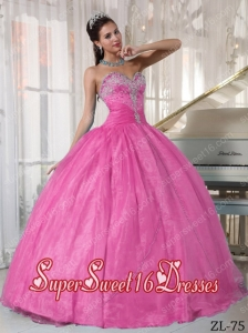 Beautiful Taffeta and Organza Appliques 15th Birthday Party Dresses in Rose Pink