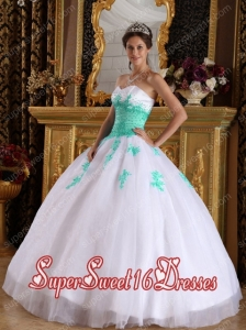 Beautiful White and Green Sweetheart Floor-length Appliques Organza 15th Birthday Party Dresses
