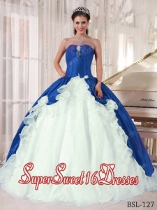 Blue and White Ball Gown Sweetheart Floor-length 15th Birthday Party Dresses with Beading