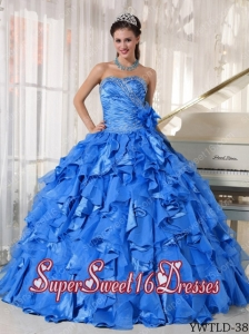 Cheap Blue Ball Gown Sweetheart Organza Beading 15th Birthday Party Dresses