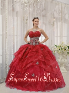 Elegant Red Ball Gown Strapless Floor-length Organza Beading New Style Sweet 16 Dresses