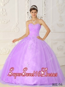 Elegent Purple Sweetheart Taffeta and Organza Appliques 15th Birthday Party Dresses