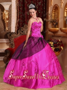 Fuchsia Ball Gown Sweetheart With Satin Embroidery with Beading New Style Sweet 16 Dresses