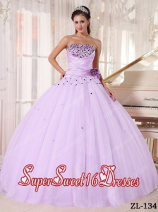Lilac Ball Gown Strapless Floor-length Tulle Beading and Ruch Quinceanera Dress
